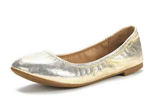 DREAM PAIRS Women's Sole Happy Gold Ballerina Walking Flats Shoes - 7 M US ()
