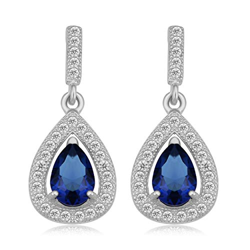 Sterling Silver Simulated Sapphire And Cubic Zirconia Vintage Pear Drop ()