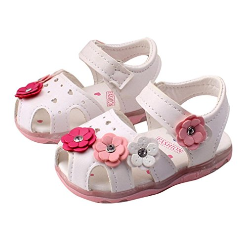 Lanhui Toddler New Flowers Girls Sandals Lighted Soft-Soled Princess Baby Shoes Child Fashion Leather Dance Single Casual Size (Age:1-2years, White)