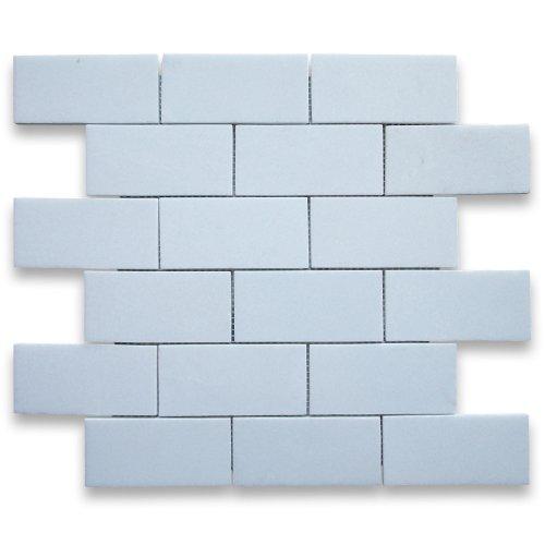 Thassos White Greek Marble Subway Brick Mosaic Tile 2 x 4 Polished -