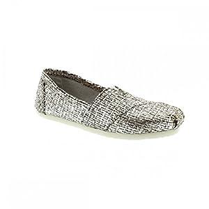 TOMS Women's Crochet Classic Slip-on (6.5 B(M) US, Silver Glitter Wool)