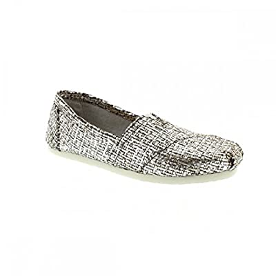 TOMS Women's Crochet Classic Slip-on (6.5 B(M) US, Silver Glitter Wool)