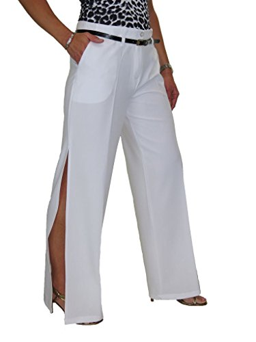 Ice Womens Side Open Leg Slit Trousers Special Occasion White 4-18 (4)