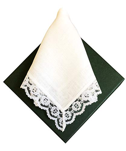 - Thomas Ferguson Ladies Linen Lace Handkerchiefs (Set of 3) 10In Sq White