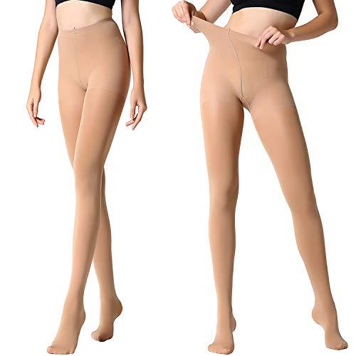 (MANZI 2 Pairs Run Resistant Control Top Panty Hose Opaque Tights(Large, Suntan))