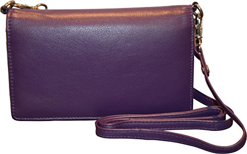 Strap Smart Phone Genuine Leather Shoulder Purple With Wallet Women's Crossbody Pielino gqw7Bpg