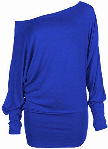 Hanger grande Hot longues haut lectrique taille tunique manches Femme batwing Bleu fqw6UxwCP