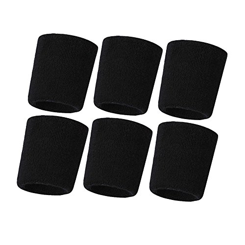 Hanerdun Wrist Sweatbands Thick Cotton Terry Cloth Wristbands For Men And Women Athletic Sweat Bands For Sports Tennis Gym Basketball,Black(6 pieces),One - Sweatband Wrist Black