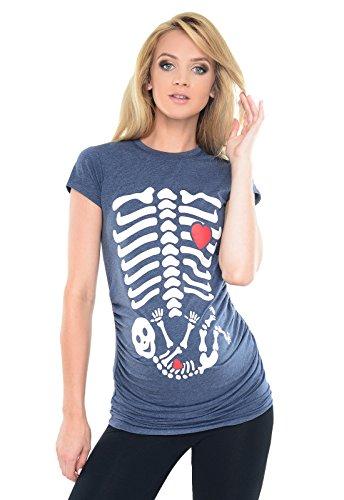 Purpless Maternity Top T-Shirt for Pregnant Women Slogan Skeleton Baby Print B2016 (10, Indigo Jeans ()