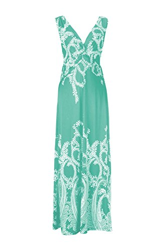 G2 Chic Women's Paradise Printed Patterned Holiday Casual Floral Dress(DRS-MAX,LBLA6-M) (G2 Chic Maxi Dress)