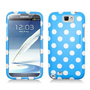 Aimo SAMNOTE2PCPD302 Cute Polka Dot Hard Snap-On Protective Case for Samsung Galaxy Note 2 N7100 - Retail Packaging - Light Blue/White