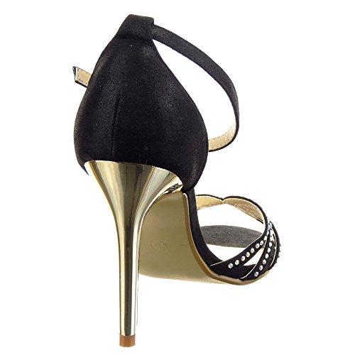 Sopily - Zapatillas de Moda Tacón escarpín Stiletto Abierto la noche Tobillo mujer strass Talón Tacón de aguja alto 10 CM - Negro
