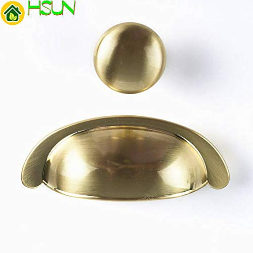 3' Brass Cabinet Cup Pull - 3.0'' Dresser Pulls Drawer Knobs Pull Handles Cup Bin Shell Pull Brushed Brass Gold Kitchen Cabinet Handle Hardware 76mm - (Size: Knob)