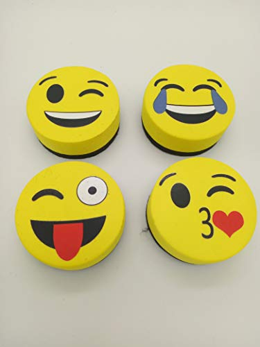 Yellow Magnetic Smiley Face Circular Whiteboard Eraser - Used to Home, Office and School Classroom (16 Pack) (16 Pcs) by Convenient-life