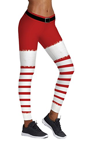 COCOLEGGINGS Ladys Red and White Stripes Print Cute Christmas Pants (L/XL) -