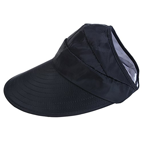 CHENYUE Sun Hat with Leaf Print Summer Beach Visor Cap UV Protection Wide Brim Solid Color Foldable and Adjustable Hat for Women (Black)