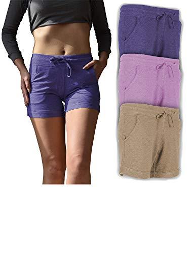Sexy Basics Women's 3 Pack Active Wear Lounge Yoga Gym Casual Sport Shorts (3 Pack - Violet/Lavender/Sand, X-Large) - Lavender Cotton Shorts