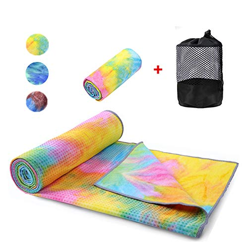 WeYingLe Yoga Mat Towel Non Slip Hot Yoga Towel,Sweat Absorbent, for Hot Yoga, Bikram, Pilates (Tie-Dyed Yellow)