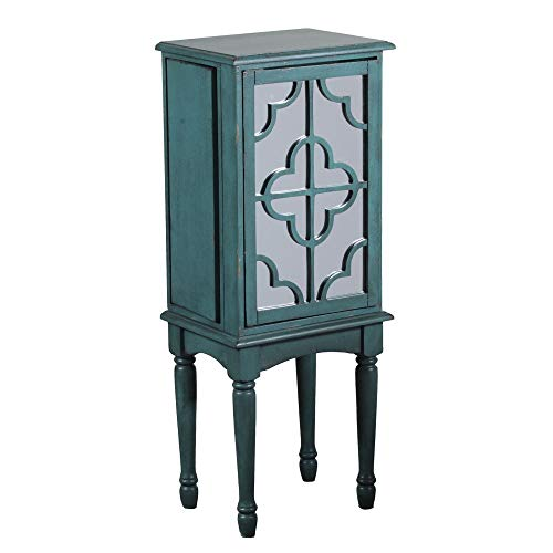 Powell 14J8119T Mazie Jewelry Armoire, Teal with Mirrored Front