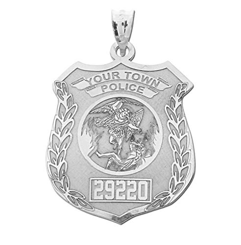 PicturesOnGold.com Solid Sterling Silver Saint Michael Personalized Police Badge with Department & Badge Number - Size 3/4 x 1 inch