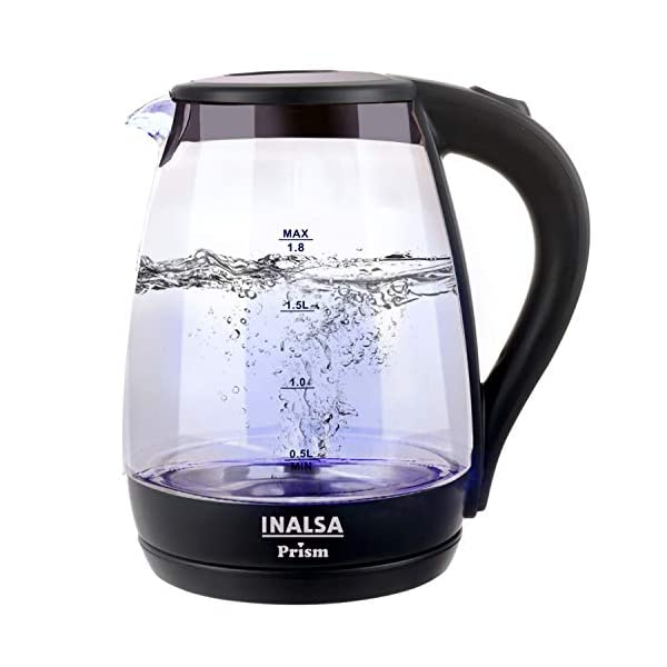 Inalsa Electric Kettle PRISM with LED Illumination,Boro-Silicate Body, 1.8 L Capacity, Glass Kettle