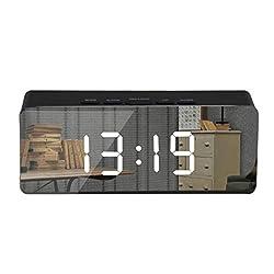 LED Digital Mirror Display Alarm Clock, Adjustable Brightness Night Light Thermometer Display Modern Clock for Room Office (Black)