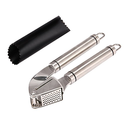 Nanan Stainless Steel Garlic Press and Peeler Set,Best Peeling Press Mincer and Silicone Tube Roller