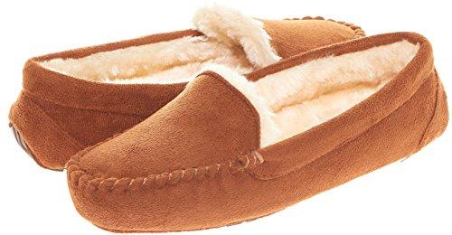 Floopi Womens Indoor Outdoor Fuax Fur Lined Moccasin Slipper W/Memory Foam