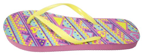 Two Print Flop Yellow Tone Neon Sandals Tribal Pink Flip PwqSExg5