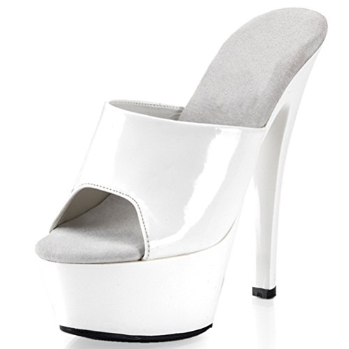 Summitfashions 6 Inch Women's Sexy Slip On Shoes High Heel Slide Mule With Wide Upper Strap Size: 10 Colors: White