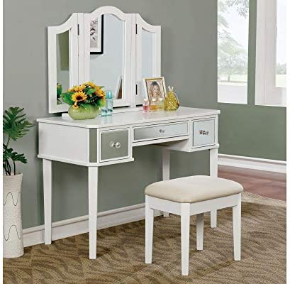 HOMES Inside Out Dravite Vanity Table with Stool White