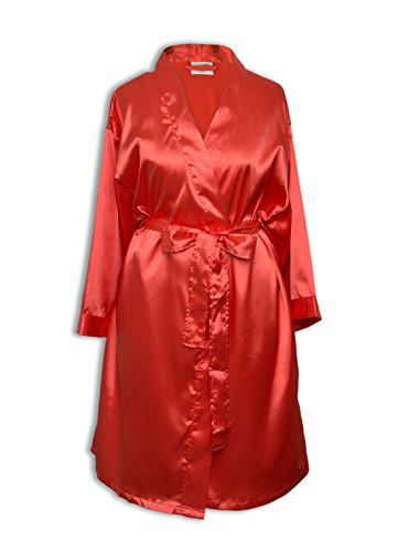 TowelBathrobe Women's Kimono Satin Robe Satin Lounge Bridesmaids Short Robe (Small/Medium, - Mall Coral
