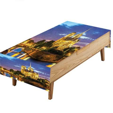 PINAFORE Polyester Table Cloth Notre Dame Cathedral at Dusk in France Riverside Scenery Lights Kitchen Dinning Tabletop Decoration Hotel Cafe &More W50 x L80 -
