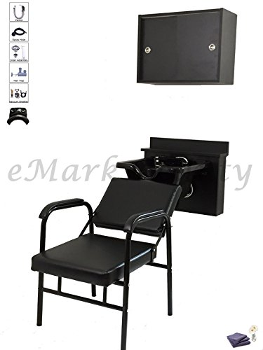 Square Shampoo Bowl w/ Cabinet Reclining Shampoo Chair Towel Storage Cabinet TLC-B11-BC16-216A-TC by eMark Beauty