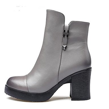 Botas de la mujer la comodidad de microfibra Primavera Borgoña Casual gris plana negra Gray