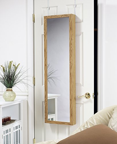 Plaza Over Door/Wall-Mount Armoire with Full Dressing Mirror and Vanity Mirror for Earrings, Oak