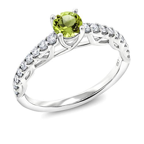 Gem Stone King 0.86 Ct Round Green Peridot G-H Lab Grown Diamond 10K White Gold Engagement Ring (Size 5)