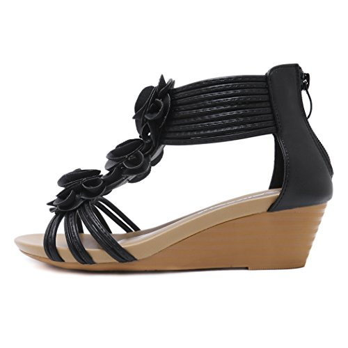 Mujeres Negro Cuña Las Sandalias Para Flor Verano De Señoras Romanas Cómodos Del Ruiren Zapatos La wBqRx0I66