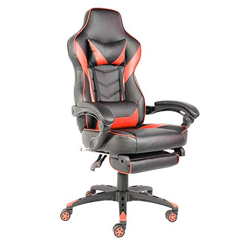 Binlin Racing Gaming Chair,C-Type Foldable Nylon Foot Racing Chair with Footrest - Ergonomic High-Back Racing Computer Desk Office Chair