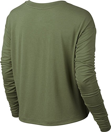 really cheap outlet store cheap online NIKE Womens Essential Long Sleeve HBR Crop Top Shirt Palm Green/Lava Flow discount professional NH39J