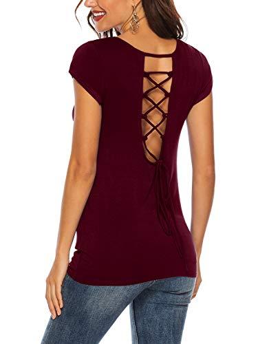 (Beluring Women Summer Crew Neck Short Sleeve Criss Cross T-Shirt Tops (Burgundy,L))