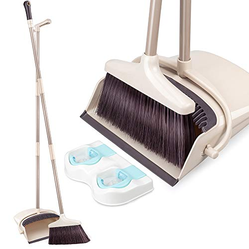 Angled Lobby Broom - Broom and Dustpan Set with Long Extendable Handle Upright Dust Pan and Broom Set for Home Kitchen Room Lobby Office Floor Clean