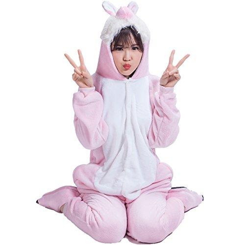 BIFINI Pink Rabbit Adult Halloween Cosplay Onesies Animal Costume Pajamas S (Ladies Halloween Costumes Next Day Delivery)