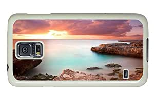 Hipster Samsung Galaxy S5 I9600/G9006/G9008 Case leather cases coral rock sunset PC White Samsung Galaxy S5 I9600/G9006/G9008