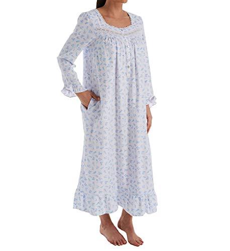 Eileen West Cotton Rayon Flannel Woven Ballet Nightgown White Ground/Crocus SM (Eileen West Gowns Flannel)