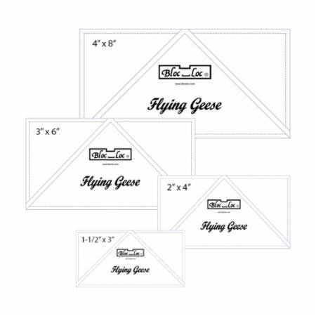 Bloc Loc Flying Geese Ruler Set 1~1.5''x3,2''x4'',3''x6'',4''x8'' by Bloc Loc