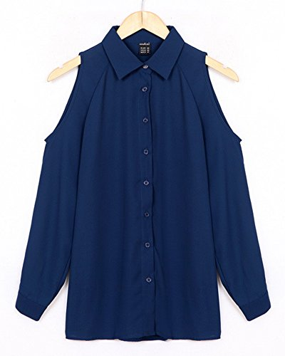 De las Mujeres Camisa Manga Larga del Hombro Vestido Blusa Top Tallas Grandes Azul zafiro