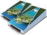 Large Mouth BASS Fish Fishing TABLETOP Desktop Cornhole Boards Game Set Bean Bag Tailgate Toss Mini Miniature