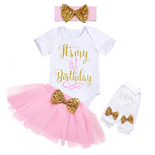 Newborn Baby Girl My First Birthday Clothes Short Sleeve Romper Pink Tutu Skirt Sequin Bow Headband with Leg Warmer 4Pcs Dresses Outfit Sets 12 Months