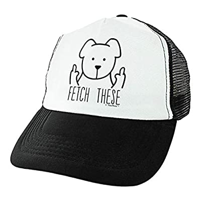 Dog Hat Fetch These Rude Dog Gag Gifts Dog Novelty Gifts Dog Themed Gifts Middle Finger Trucker Hat